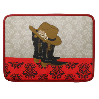 Chic Western Boots and Hat MacBook Sleeve