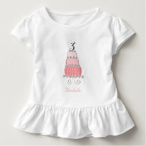 Chic Whimsical Pink Cake Girl's 3rd Birthday Party Toddler T-shirt