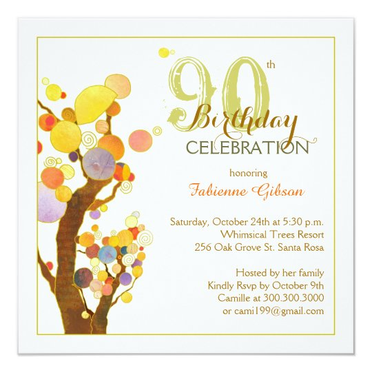 Chic Whimsical Trees 90th Birthday Party Invitation