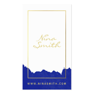 Chic white and gold elegant modern blue watercolor business card