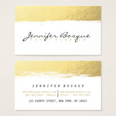 Chic White And Gold Faux Foil Modern Brush Stroke Business Card at Zazzle