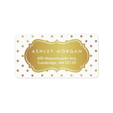 Christmas Themed Chic White and Gold Glitter Polka Dots Label