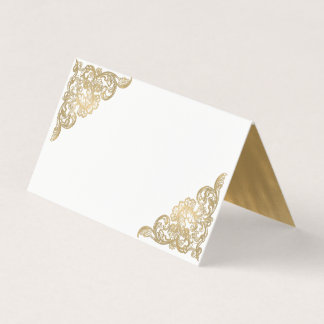 Chic White and Gold Wedding Folded Place Card