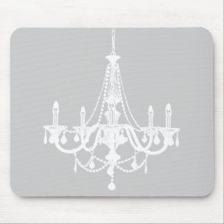 Chic White and Gray Chandelier Mouse Pad