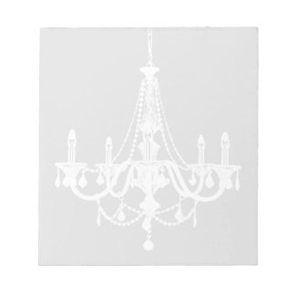 Chic White and Gray Chandelier Notepad