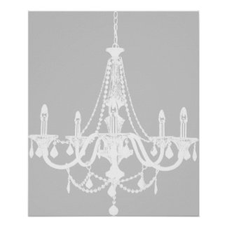 Chic White and Gray Chandelier Posters