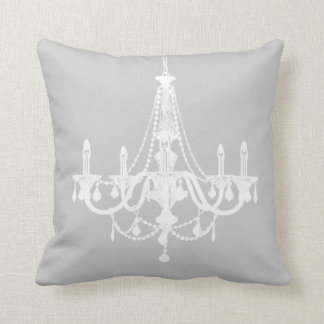 Chic White and Gray Chandelier Throw Pillow