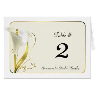Chic White and Ivory Calla Lily Table Number Note Card