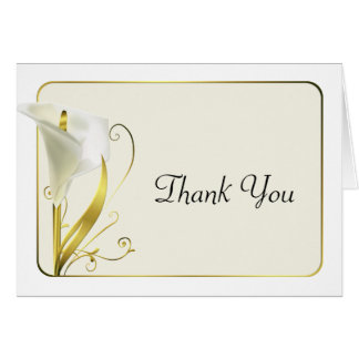 Chic White and Ivory Calla Lily Thank You Card