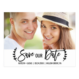Chic White Black Olive Branch Save our Date Photo Postcard
