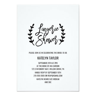 Chic White Black Olive Branches Lingerie Shower Card