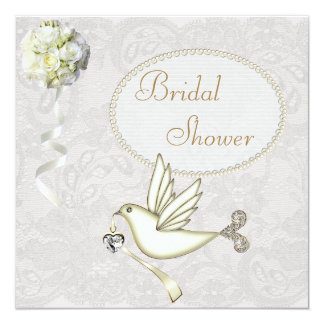 Chic White Dove Paisley Lace Bridal Shower Card