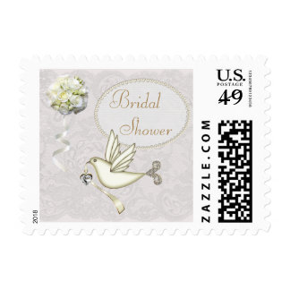 Chic White Dove Paisley Lace Bridal Shower Postage