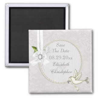 Chic White Dove Paisley Lace & Cameo Save The Date 2 Inch Square Magnet