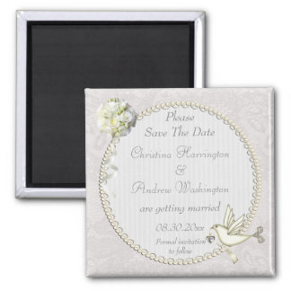 Chic White Dove Paisley Lace Save The Date 2 Inch Square Magnet