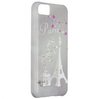 Chic White Eiffel Tower & Whimsical Butterflies Cover For iPhone 5C