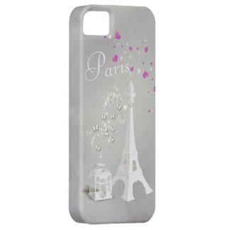 Chic White Eiffel Tower & Whimsical Butterflies iPhone 5 Cover