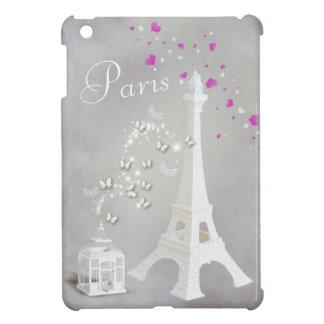 Chic White Eiffel Tower & Whimsical Butterflies iPad Mini Case