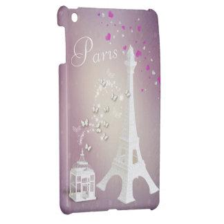 Chic White Eiffel Tower & Whimsical Butterflies iPad Mini Cover
