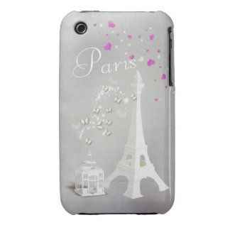 Chic White Eiffel Tower & Whimsical Butterflies iPhone 3 Case