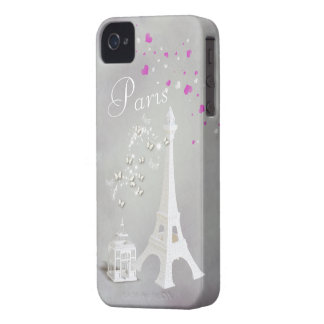 Chic White Eiffel Tower & Whimsical Butterflies iPhone 4 Case