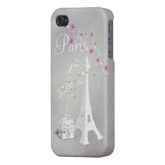Chic White Eiffel Tower & Whimsical Butterflies iPhone 4 Cases