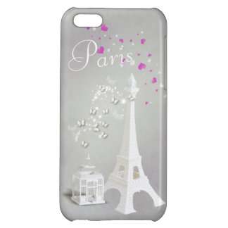Chic White Eiffel Tower & Whimsical Butterflies iPhone 5C Cases