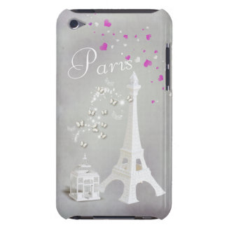 Chic White Eiffel Tower & Whimsical Butterflies iPod Touch Case-Mate Case