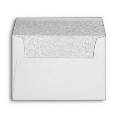 Chic White Faux Silver Glittered Trim - Envelope at Zazzle