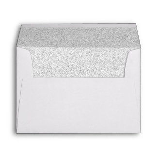 Chic White Faux Silver Glittered Trim - Envelope