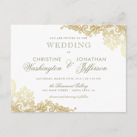 Chic White & Gold Foil Floral Lace Wedding Announcement Postcard
