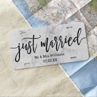 Chic White & Gray Marble Wedding Just Married License Plate