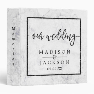 Chic White & Gray Marble Wedding Photo Album Binder