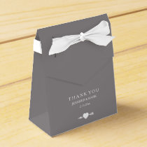 Chic White on Titanium Wedding Heart and Arrow Favor Box