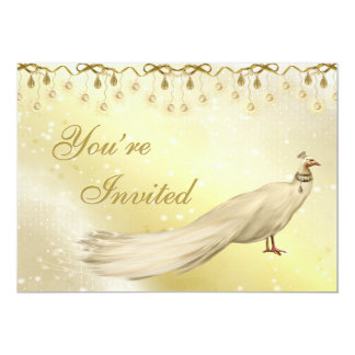 Chic White Peacocks Classy Gold Christmas Party Card