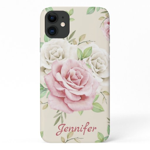 Chic White Pink Roses Green Leaves Floral iPhone 11 Case