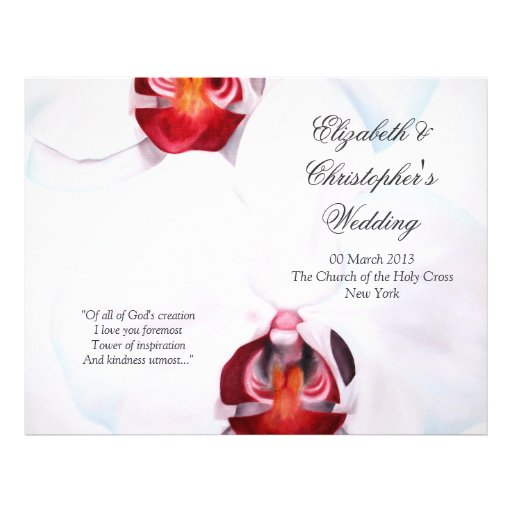 Chic white red gold orchids Wedding Program Flyer