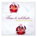 """Chic white red orchids bachelorette party invites 5.25"""" square invitation card"""