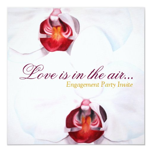 """Chic white red orchids engagement party invites 5.25"""" square invitation card"""