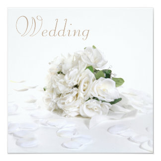 Chic White Roses Bouquet & Petals Wedding Card
