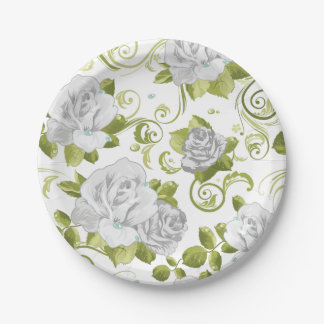 Chic White Roses Floral Pattern 7 Inch Paper Plate