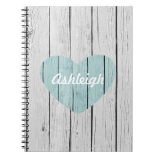 Chic White Rustic Faux Wood Heart Spiral Notebooks