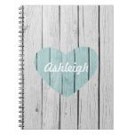 Chic White Rustic Wood Journal