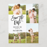 "Chic White Save The Date 4-Photo Collage Announcement Postcard<br><div class=""desc"">This modern Save the Date photo postcard features a 4-photo collage and a modern brush script typeface. Add additional information like your wedding website or introduce your wedding hashtag on the back. Contact our designer store for additional colors options/variations.</div>"