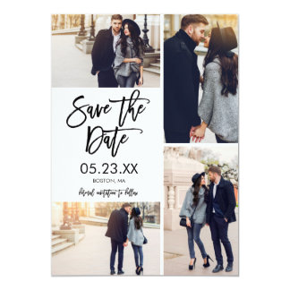 Chic White Save The Date 4-Photo Collage Card