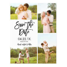 Chic White Save The Date 4-photo Collage Postcard at Zazzle