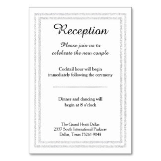 Chic White Silver Glitter Trim - Reception Insert Table Number