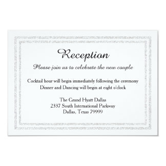 Chic White Silver Glitter Trim-Reception Invition Card