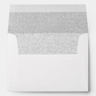 Chic White Silver Glittered Trim - Envelope