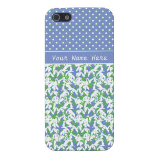 Chic White Snowdrops and Polka Dots on Blue iPhone SE/5/5s Case